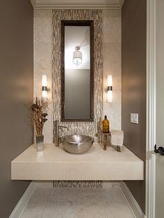 Powder Room Design, Comely Modern Powder Room Decorating Ideas With Unique Washbowl With Silver Color Also Brown Wall Color Also Beige Marble Wall And Floor And Modern Silver Vase Color With Beauty Dry Flower Ornament On It: Powder Room Decorating Ideas at Your Home