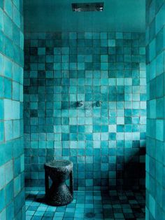 These turquoise tiles are bold & beautiful. {designed by Paola Navone w/photo by Ricardo LabougeFonte for Architectural Digest}