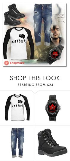 """SnapMade no.15"" by silvijo ❤ liked on Polyvore featuring Dsquared2, Timberland, men's fashion and menswear"