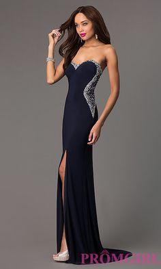 Image of strapless navy sweetheart jewel embellished sheer back side slit dress Style: MF-E1778 Detail Image 1