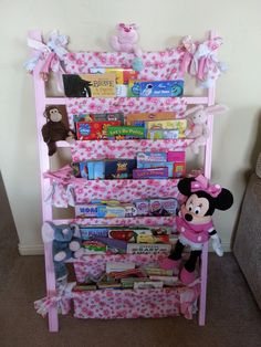 Easy Kids Bookcase Made from an old drop down side crib. Carys has transitioned to a  toddler bed, so I was left with her old n...