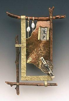 Brooch | Doe A Cross.  Handmade paper, wood, paint, wire, pearls