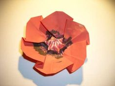 This paper craft in the origami technique will be quite easy for you to make and pleasant to get as Origami Flowers, Paper Flowers, Kids Origami, How To Make Origami, Origami Folding, Poppy Craft For Kids, Crafts For Kids, Easy Christmas Crafts, Papercraft