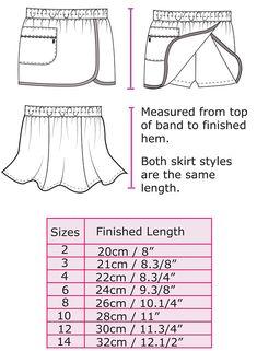 GIRLS SHORTS shorts/skort sewing pattern Suzie Skort pdf