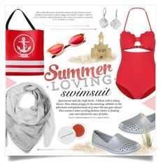 """""""One-Piece Swimsuit"""" by alexandrazeres ❤ liked on Polyvore featuring Marysia Swim, ESCADA, Skechers, Bling Jewelry, Herbivore, H&M and onepieceswimsuit"""