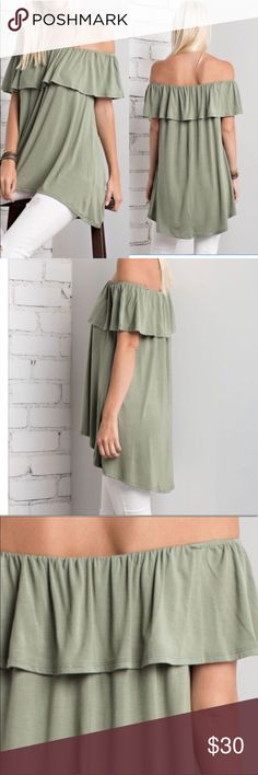 Olive Cold Shoulder Top Beautiful sage green, great length in back to cover bum Tops Blouses