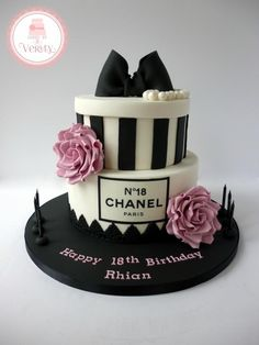 Chanel Inspired 18th Birthday cake @ashleymattoon I want this for my birthday