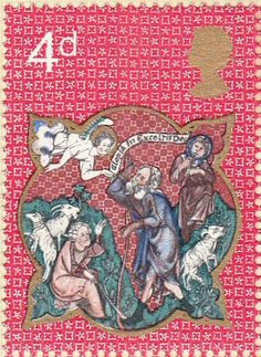 Stamp name: Sheperds and Apparition of the Angel Value: Release date: 25 November 1970 Designer: Sally Stiff ARCA Uk Stamps, Postage Stamps, Xmas Theme, Commemorative Stamps, Royal Mail, Penny Black, Stamp Collecting, Mail Art, Ephemera