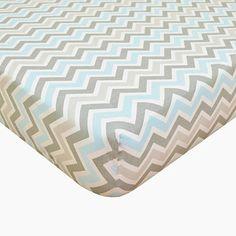 TL Care® Cotton Percale Crib Sheet in Blue/Grey Zigzag - BedBathandBeyond.com
