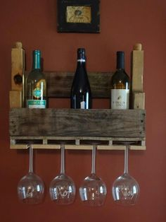 Small wine rack - holds 4 wine glasses and up to 4 bottles of your favorite wine