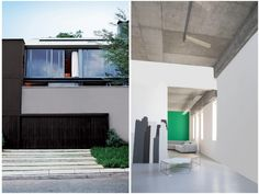 """Looking at the image above, when the Urban palette is considered for exterior use, Silver as a neutral is beautifully combined with darker colours such as Bovine or Dark Onyx and """"warmed up"""" with a splash of a single primary shade. Plascon Colours, Painted Feature Wall, Sense Of Place, Color Psychology, Kitchen Collection, Color Stories, Off Colour, Dark Colors, Color Splash"""