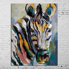 100% of hand-painted oil painting zebra horse in all modern abstract art family adornment art wall without frame - GKandAa