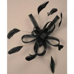 Black looped and with black coq feathers fascinator mounted on a comb for special occasions. Wedding Hair Fascinator, Black Fascinator, Fascinator Hairstyles, Hair Straightener For Men, Wedding Accessories, Hair Accessories, Alice Band, April Wedding, Ribbon Wrap