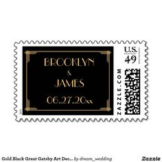 Gold Black Great Gatsby Art Deco Wedding Stamps