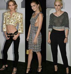 Alguns looks Chanel da festa de lançamento do perfume N°5 L' eau da grife.🌷✨ #lilyrosedepp #zoeydeutch #kristenstewart #fashionstyles #chanel #n5leau #launch