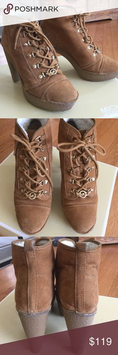 """Like new, MK booties, in box. Adorable lined lace up booties, gold tipped laces and grommets.  Rubber heel and soles. 1"""" platform, 3"""" heels.  Barely worn, in perfect condition.  Comes with box.  Purchased at Macy's, receipt included. Michael Kors Shoes Ankle Boots & Booties"""