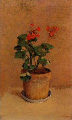 A Pot of Geraniums - Odilon Redon - #flower #plants #Painting