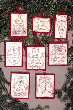 Holiday Words RedWork Ornaments Pattern - $9.50