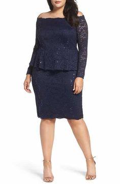 Alex Evenings Off the Shoulder Lace Sheath Dress (Plus Size) Cocteles dc53791fd550