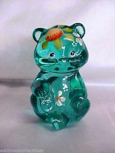 Fenton Art Glass Hand Painted Colorful Life Robin Egg Blue Bear New 51512J - Figurines