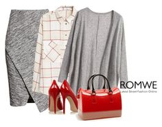 """ROMWE Loose Grey Cardigan"" by aly53-1 ❤ liked on Polyvore featuring H&M, MANGO, Gianvito Rossi, Furla, romwe, cardigan and contestentry"