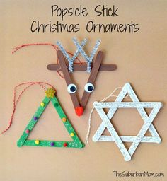 3 Popsicle Stick Christmas Ornaments Kids Craft is part of Holiday Kids Crafts Ornaments - Everyone loves Popsicle stick crafts & these 3 Popsicle Stick Christmas Ornaments are as cute as they are easy Cute kids craft to make as Christmas gifts Kids Christmas Ornaments, Preschool Christmas, Christmas Activities, Christmas Crafts For Kids, Christmas Art, Christmas Projects, Christmas Tree Decorations, Holiday Crafts, Christmas Gifts