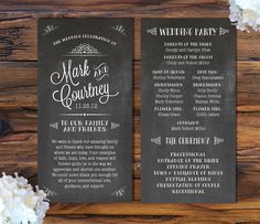 Chalkboard Style Wedding Programs.