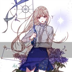 long haired anime girl holding a sword Cute Anime Pics, Cute Anime Couples, Cute Girl Drawing, Cute Drawings, Kawaii Anime Girl, Anime Art Girl, Pinterest Diy Crafts, Le Vent Se Leve, Korean Anime