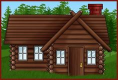 How To Draw A Log Cabin House Step By Buildings Landmarks