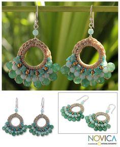 Beaded dangle earrings, 'Verdant Lanna' - Fair Trade Brass and Quartz Crochet Earrings Emerald Earrings, Beaded Earrings, Crochet Earrings, Jewelry Crafts, Handmade Jewelry, Handmade Sterling Silver, Crochet Accessories, Jewelery, Creations