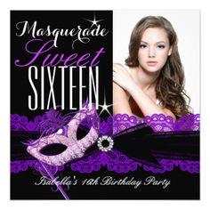 Masquerade Sweet Sixteen Sweet 16 Purple Black Card
