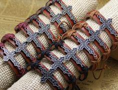 12X/Lot Free Ship Laced Cross Charm Bracelet Women's Bracelets Leather Bands