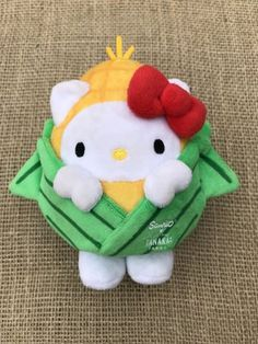 Sanrio x Tanaka Farms - Hello Kitty Corn plush Hello Kitty Dress, Hello Kitty Plush, Sanrio, Plush Dolls, Plushies, Costumes, Buckets, Toys, Farms