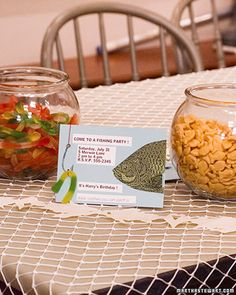 Like the idea of using fish bowls for food. I'm thinking thrift store!