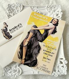 Love, Love, Love these Hollywood Glam Pin Up Feel Invites Invitation Card Printing, Invitation Cards, Bridal Shower Invitations, Birthday Invitations, Invites, Old Hollywood Glam, Cream Wedding, Custom Envelopes, Here Comes The Bride