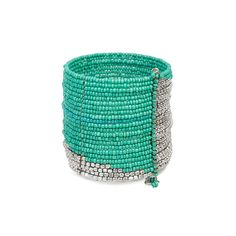 Little Black Bag   Silver/Turquoise Beaded Cuff by All the Rage