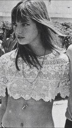 Jane Birkin wearing a crochet crop top