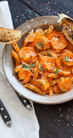 Shrimp penne with vodka sauce. Super delicious creamy pasta dish which everyone will love. | joeshealthymeals.com