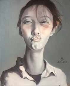 An Kun, 'Kissing Portrait/Selfies', oil on canvas, 2014. Collection Galerie Kunstbroeders.com