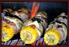 Brochetas de solomillo de cerdo con vegetales