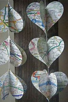 Heart Strings- The French Road Trip -Mobile from MaisyandAlice on Etsy. Map Crafts, Paper Mobile, Heart Map, Heart Garland, Colorful Roses, I Love Heart, 3d Paper, Travel Themes, Clay Beads