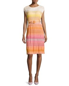 Missoni Ombre Textured Knit Belted Dress, Orange