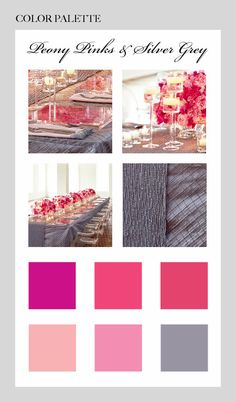 White, grey & tones of pink colour palette