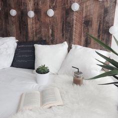 Texture - wood, lightstring, white, linens - Bedroom