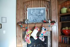 Fill a stocking for baby! Fireplace Mantel Christmas Decorations, Christmas Mantels, Fireplace Mantels, Christmas Stockings, Mantle, Holiday Decorations, Holiday Ideas, First Christmas, Christmas Time