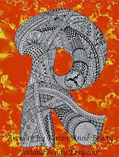 ACEO Alphabet Letter R zentangle doodle initial monogram art print by Karen Anne Brady