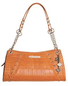 Harley-Davidson® Orange Croco Embossed Leather Chain Bag Purse