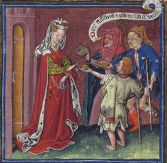 """""""Catherine of Cleves Distributing Alms"""" by the Master of Catherine of Cleves, circa 1440"""