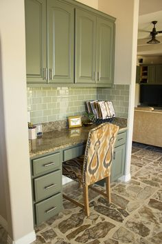 How to organize and decorate a built-in desk (I like the idea of painting the cabinets)