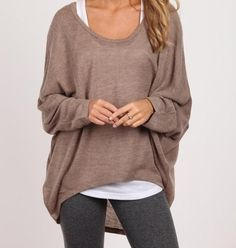 Brown & Gray. For this look use Lisette L Style #801 in charcoal.  fall style   fall fashion   gray leggings   brown sweater   white tank   cute & comfy style